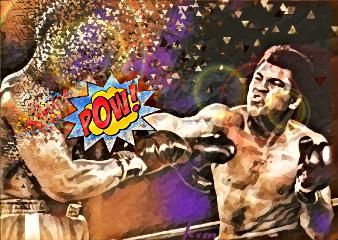 freetoeditdailyremixsticker pow! muhammedali punch boxer freetoedit