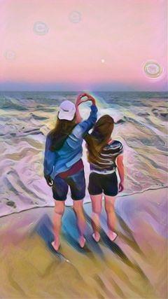 pastelmagiceffect bestfriend beach heart sunset freetoedit