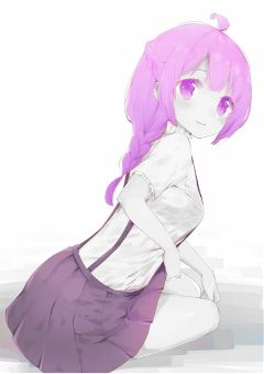 mangagirl purple violet dress hair freetoedit