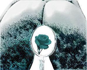 blue waves mirror back rose freetoedit