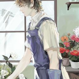 anime animeboy kawaii flowers aesthetic