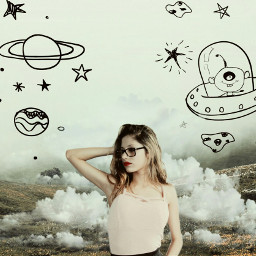 freetoedit girl nature cloud space