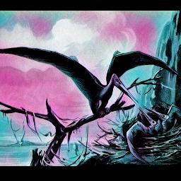 freetoedit publicdomainimage moonlighteffect dinosaurs pterodactyl