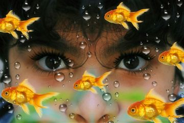 boy eyes underwater goldfish myedit freetoedit