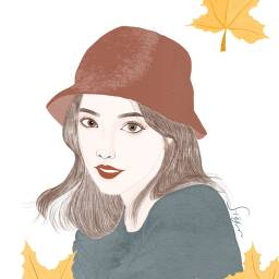 Drawing MyDrawing Girl Leaves Leaf Fall FreeToEdit