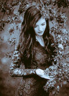 girl beautiful tree blackandwhite dress