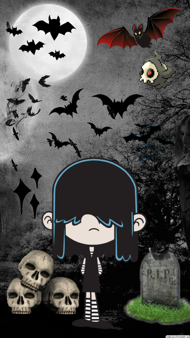 New Lucy Wallpaper #lucyloud #halloween #spooky #gothgirl #gothic #goth #theloudhouse #bats #skulls #tombstone #duskull #likeforlike #followforfollow
