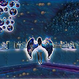 freetoedit night woman galaxy