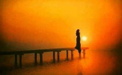 freetoedit girl alone sunset sea