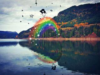freetoedit rainbow reflection girl autumn