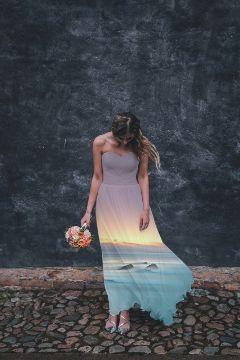 freetoedit doubleexposure beach dress