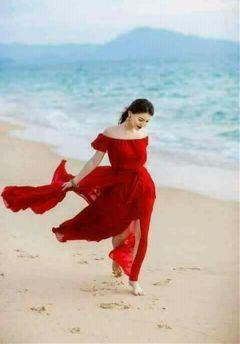 girl dress red smile beach