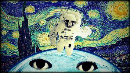starrynight vangogh astronaut planet earth freetoedit