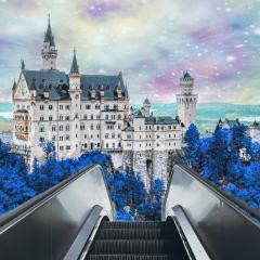freetoedit vintage galaxy castle blue