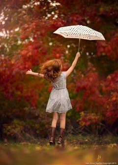 girl run play jump umbrella