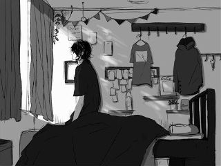scenery grey anime bedroom alone