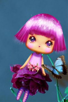 freetoedit sticker flower doll butterfly