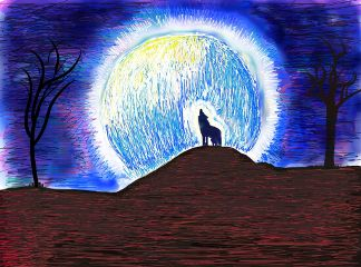 wolf mydrawing freetoedit moon