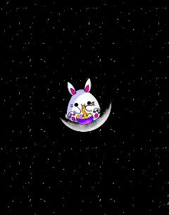 cutebunny bunny kawaii cuteness moon freetoedit