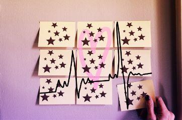 heartbeat heart stars stickynotes hand freetoedit