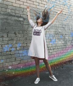 pinkdressremix freetoedit girl rainbow boss