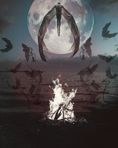 freetoedit myedit beach fire moon