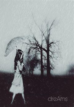 freetoedit rain autumn black-and-white black