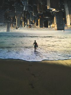vipshoutout upsidedowncity beach buildings urban freetoedit
