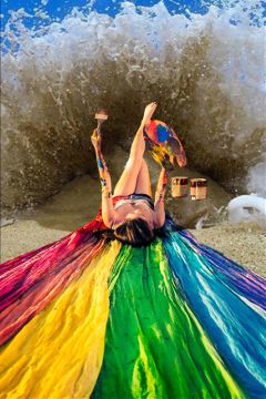 freetoedit rainbow painting beach sand