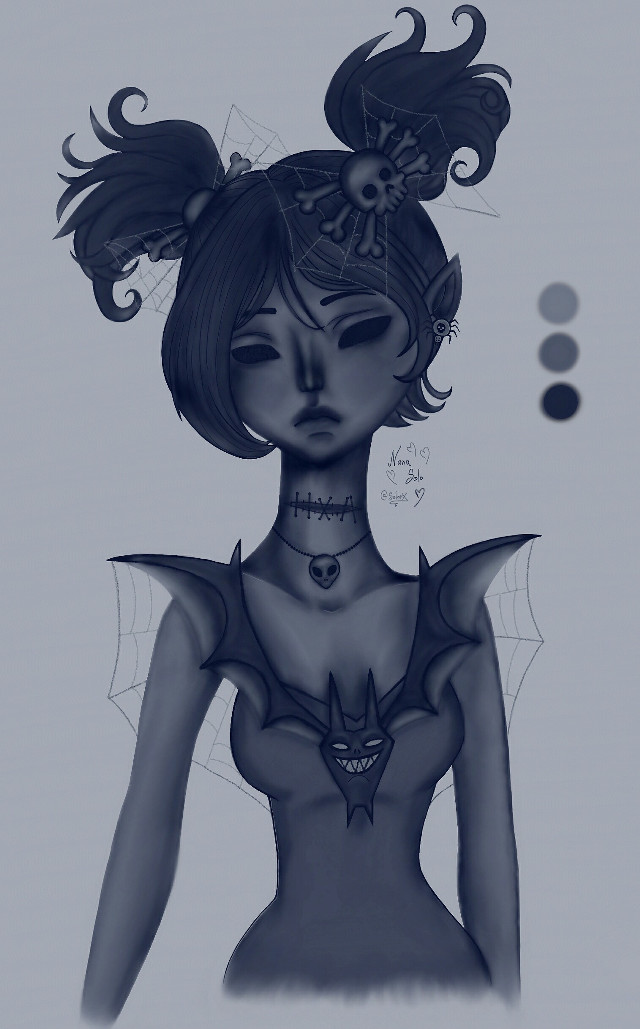 #halloween #girl #fashion #art #drawing#3colors #spooky #happyhalloween #trickortreat