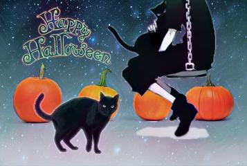 pumpkinremix freetoedit dailyremixchallenge happyhalloween blackcat