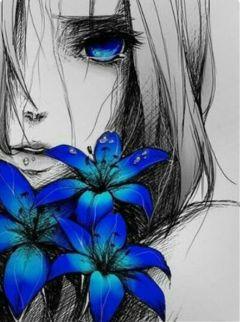 freetoedit blue flower pinterest girl