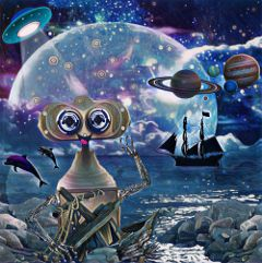 freetoedit robot space binocularremix