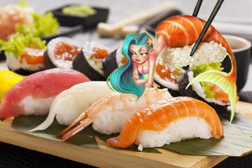 freetoedit mermaid sushi yum bluehairdontcare