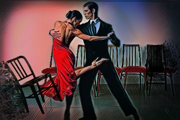 couple dancing practice chairs colormask freetoedit