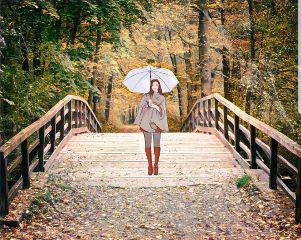 freetoedit girl wintersday unbrella forest