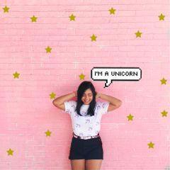 girl unicorn text pink stars freetoedit
