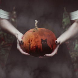 readyforhalloween freetoedit halloween pumkin moon