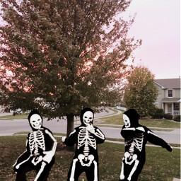 freetoedit remix halloweensticker skeletons dancing