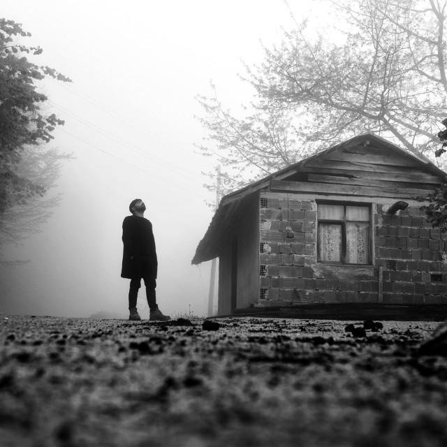 #dpchome #freetoedit #bw #bnw #bwphotography #bnwphotography #blackandwhite #blackandwhitephotography #portrait #house #home #tree #fog #foggy