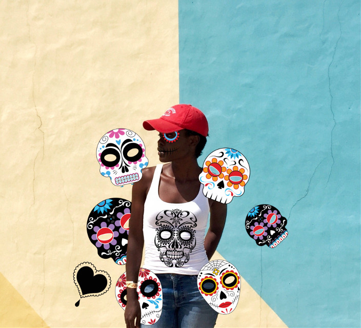 #dayofthedead #girl #scull #wall #colors #freetoedit