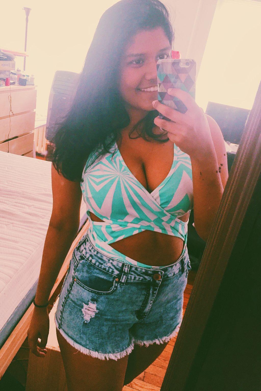 #dpcfavselfie #favselfie #selfie #fav #blue #denim #shorts #denimshorts #bodysuit #cutout #too #pants #mirror #phone #hair