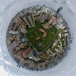 tinyplanet shanghai park skyscrapper skyscape