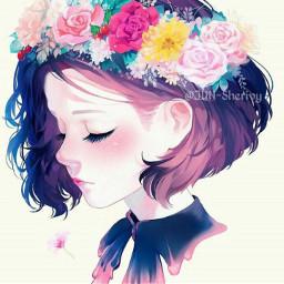 flowers flowerheadband girl anime animegirl freetoedit