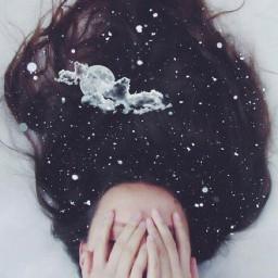 freetoedit stars moon hair doubleexposure
