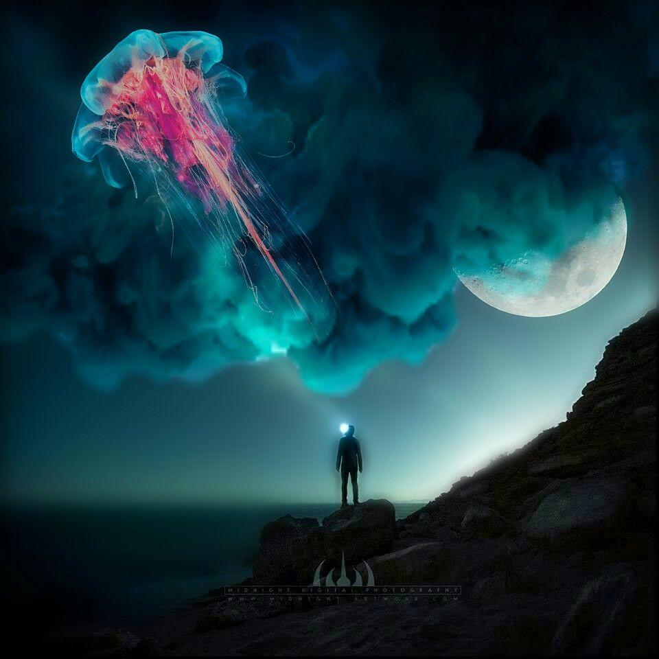 #sky #night #nature #magicsmoke #halfmoon #people #jellyfish @pa @freetoedit #surreal #surrealist #myedit
