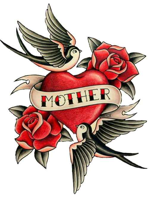 Mom Tattoo Png: ColorfulTattoo Heart Love Roses Birds Mother Tattoo Flo