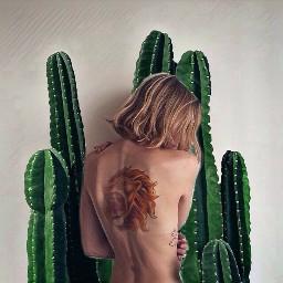 freetoedit cactus woman tattoo