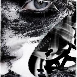 trippy blackandwhite artistic phoyography portrait freetoedit