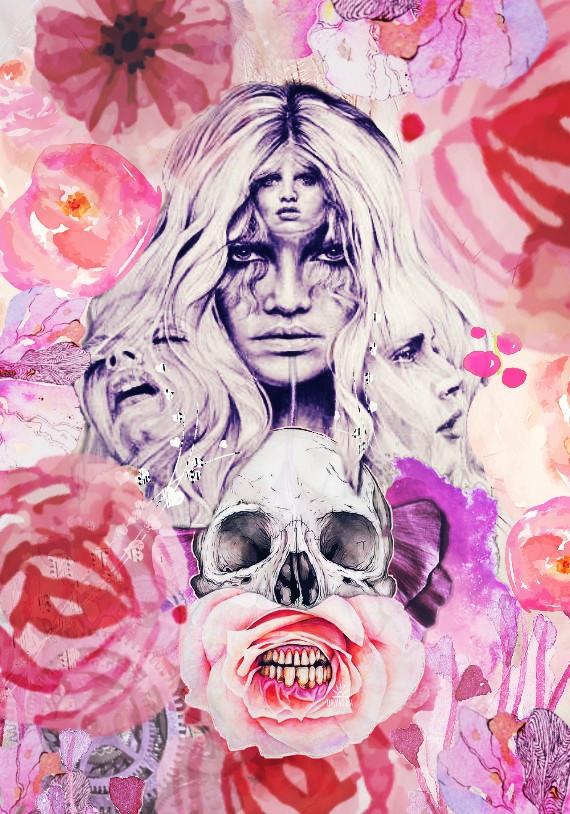 #surreal#popsurrealism#flowers#skull#trippy